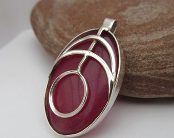 925 Sterling Silver Agate Pendant and Necklace