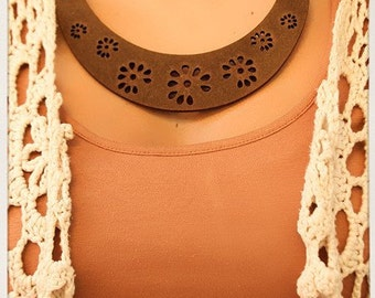 Laser Cut out Wood statement necklace