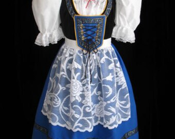 New Blue Bavarian German Oktoberfest Dirndl Dress Gown Costume