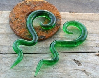 Green Glass Long Spirals