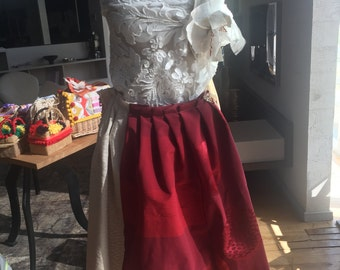 Handmade skirt with applique coral jewelry