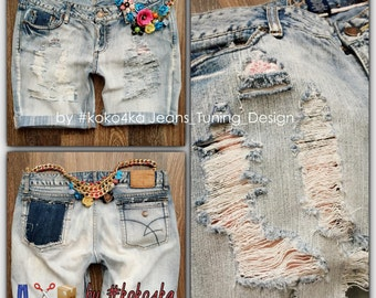 by KOKO4KA /torn jeans shorts/jeans/boyfriend/handmade/exclusive/denim shorts/trand/exclusie/shorts/distroy denim/ripped shorts
