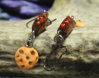 Roll and cookies earrings polymer clay