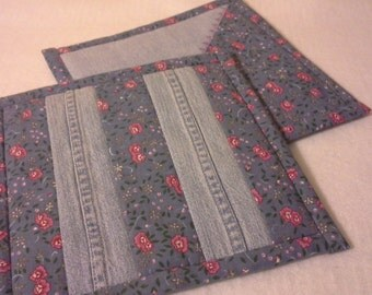 Handmade Hot Pad or Pot Holder made from Recycled Jeans