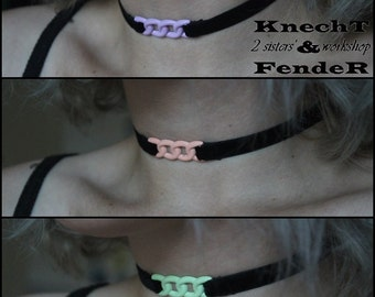 Cute velvet chokers with pastel chain-like insertion.