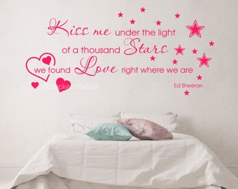 Ed Sheeran Thinking Out Loud - Kiss Me Song Lyrics Wall Art Sticker