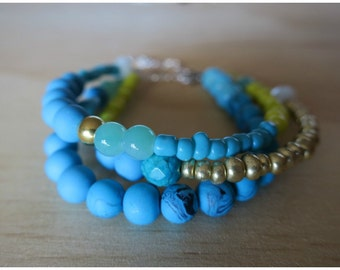 Polymer clay and mixed bead bracelet- 17