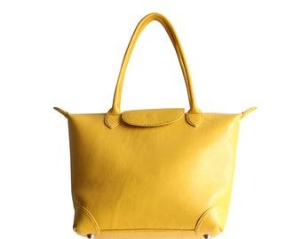 BAG LOLITA leather & yellow wax + tote bag wax