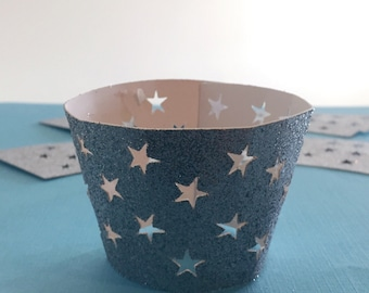 Cupcake Wrappers, Glitter, Star Cut Out,Standard Cupcakes