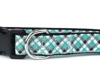 Blue & Gray Argyle Nylon Dog Collar