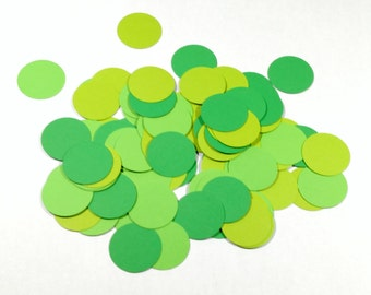 Multi-colored kelly green lime green grass green table confetti table scatter