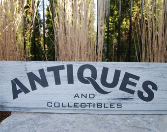 "Hand painted wood sign ""Antiques and Collectibles"""