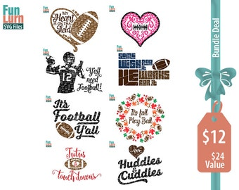 Football SVG Bundle 2, my heart is on that field, tutus and touchdowns, huddles and cuddles, its fall play ball  SVG, DXF, Png Cut Files