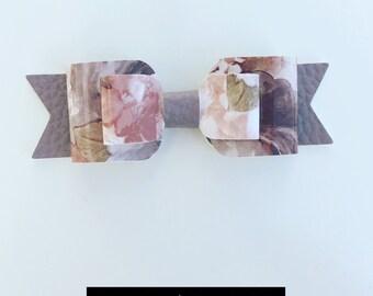 SALE  -  Double Bow - Faux Leather - Mauve Colour with floral pattern - Handmade