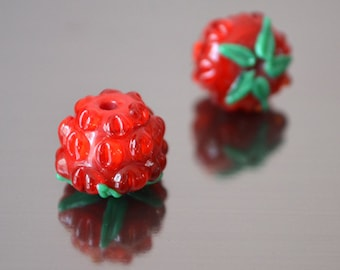 Berry beads, handmade lampwork beads, red