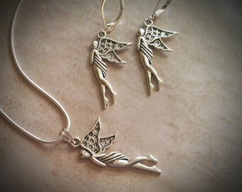Fairy Necklace and Earring Set / Silver Fairy Necklace / Fairy Necklace / Silver Earrings / Fairy Earrings