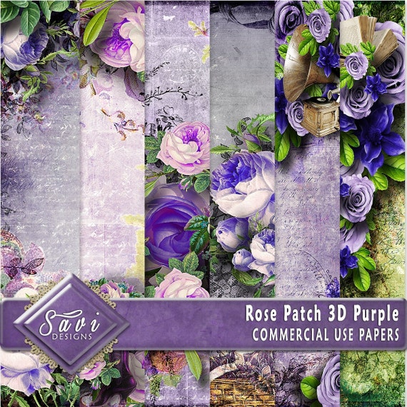 CU Commercial Use Background Papers set of 6 for Digital Scrapbooking or Craft projects Rose Patch Purple, 3D Papers, Designer Stock Papers