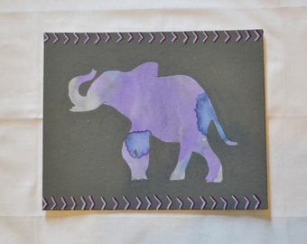 Purple & Gray Watercolor Elephant Hand-Painted Canvas