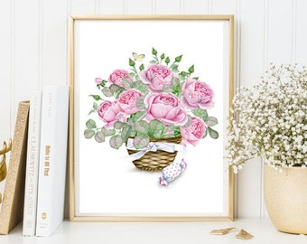 Nursery roses basket bouquet print floral printable wall art decor kind room decor kitchen decor mother gift wedding day pink roses print
