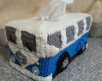 Kombi Van Tissue Box Cover - Crocheted in custom colours. Volkswagon VW
