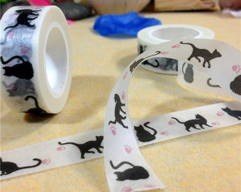Cute Black Cats Washi Tape / Black Cat Tape