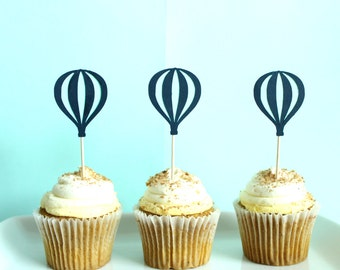 Hot Air Balloon Cupcake Toppers - Up Up & Away Cupcake Toppers - Time Flies Cupcake Toppers - Oh The Places You'll Go Cupcake Toppers