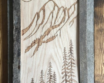 Rustic Reclaimed Wood Hand-Burnt Mountain Wall-Hanging