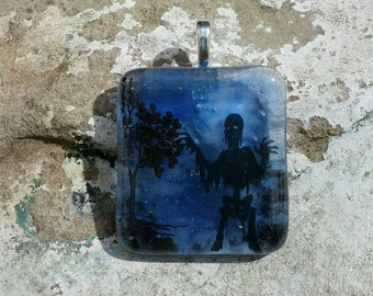 Fused Glass Pendant - Halloween Jewelry - Zombie Jewelry - Blue Glass Pendant
