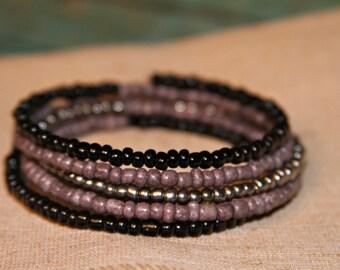 Black, Grey, Silver Memory Wire Bracelet, Boho Bracelet, Beaded Bracelet, Cuff Bracelet, Wrap Around Bracelet, Bohemian Memory Wire Bracelet