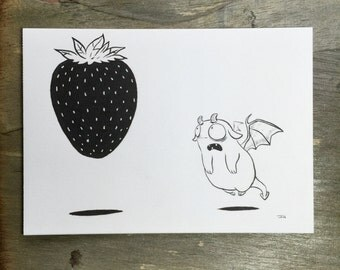 Fraise - ORIGINAL INK ILLUSTRATION 5x7