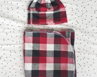 Buffalo Check Knit Swaddle Set/Red and Black Swaddle/Baby Boy Swaddle/Swaddle Blanket
