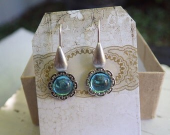 Small Silver ~ Aquamarine Earrings ~ Aqua Blue ~ Vintage Glass ~ by WakesTheDawn