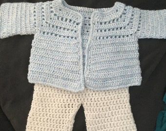 Homemade crocheted baby boy sweater set. 0-3 months