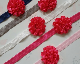 Handmade Elastic Hot Pink Flower Headband All Sizes Available