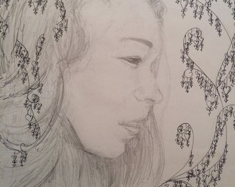 Sarah - graphite and pen portrait