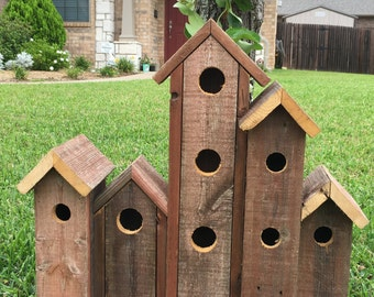 Row House Birdhouse Red