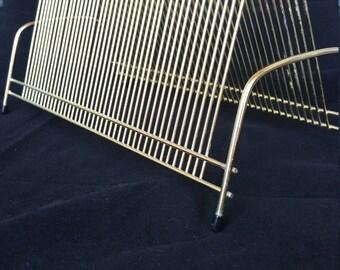 Vintage Gold Metal Wire Album Vinyl Record Storage Rack Holder Mid Century-40 Slot