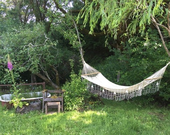 natural white large cotton hammock for 2!