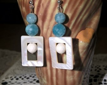 Mother of pearl earrings, angelite and shell