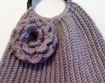 Gray Crochet Handbag