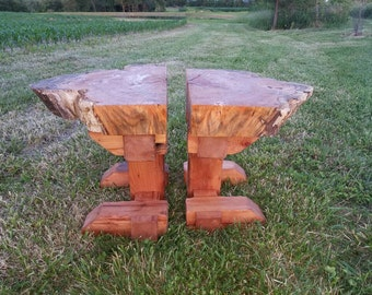 Pair of Barn beam/locust end tables
