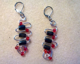 Black and Red  wire earrings