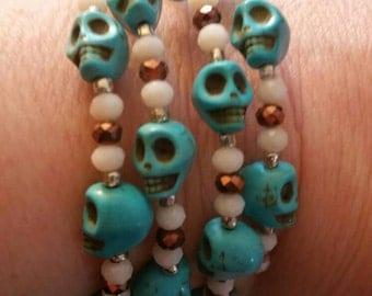 Skull Beaded Bracelet - turquoise skulls