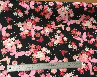 Black and pink butterflies and flowers fabric, per meter