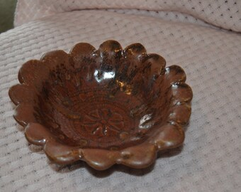 Brown Pottery Bowl with Scalloped Edge