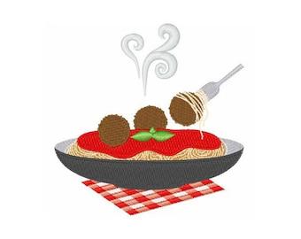 Spaghetti and Meatballs- Machine Embroidery Design