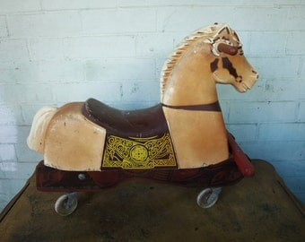 Vintage 1960s Palomino Coaster Toy Horse by Rich Toys – Push/ Pull Horse