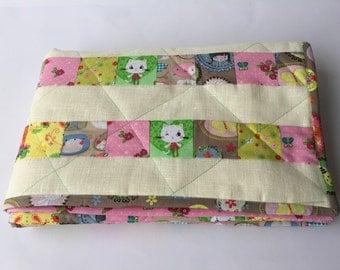 Baby blanket Playmat patchwork children bedspread cream colored