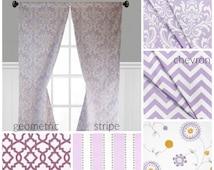 Purple Lavender Curtain Panels Floral Stripe Wisteria Nursery Curtains Window Treatments Nursery Decor Custom Drapes