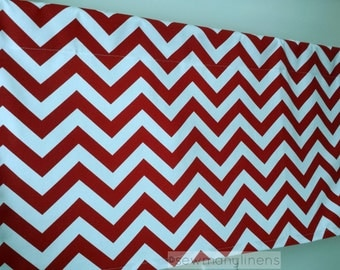 Red Valance Chevron Stripe Zig Zag Curtain Valance Window Treatments Custom Window Topper Panel Valance